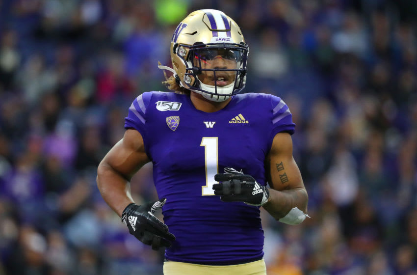 SEATTLE, WASHINGTON - SEPTEMBER 14: Hunter Bryant #1 of the Washington Huskies looks on against the Hawaii Rainbow Warriors in the fourth quarter during their game at Husky Stadium on September 14, 2019 in Seattle, Washington. (Photo by Abbie Parr/Getty Images)