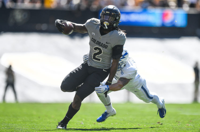 BOULDER, CO - SEPTEMBER 14: Wide receiver Laviska Shenault Jr. #2 of the Colorado Buffaloes carries the ball against the Air Force Falcons in the fourth quarter of a game at Folsom Field on September 14, 2019 in Boulder, Colorado. (Photo by Dustin Bradford/Getty Images)