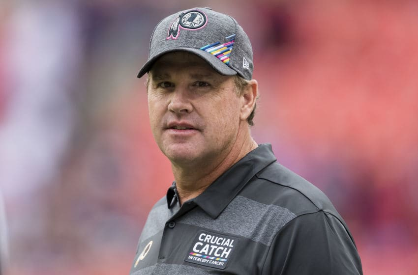 LANDOVER, MD - OCTOBER 06: Head coach Jay Gruden of the Washington Redskins looks on before the game against the New England Patriots at FedExField on October 6, 2019 in Landover, Maryland. (Photo by Scott Taetsch/Getty Images)