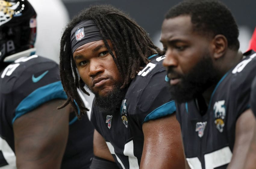 HOUSTON, TX - SEPTEMBER 15: Dawuane Smoot #94 of the Jacksonville Jaguars rests on the bench in the fourth quarter against the Houston Texans at NRG Stadium on September 15, 2019 in Houston, Texas. (Photo by Tim Warner/Getty Images)