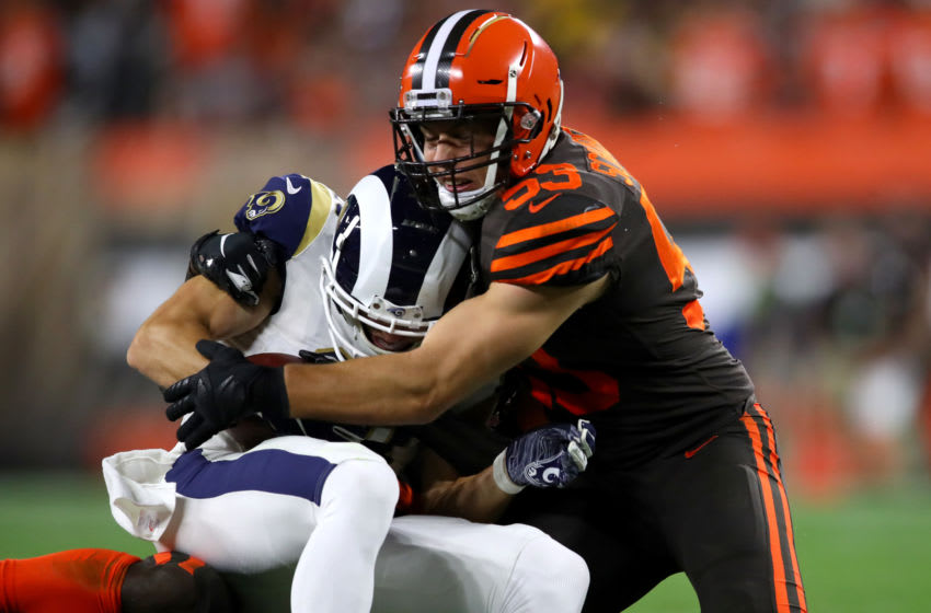 CLEVELAND, OHIO - SEPTEMBER 22: Linebacker Joe Schobert #53 of the Cleveland Browns takes down wide receiver Cooper Kupp #18 of the Los Angeles Rams after he makes a reception during the second quarter of the game at FirstEnergy Stadium on September 22, 2019 in Cleveland, Ohio. (Photo by Gregory Shamus/Getty Images)