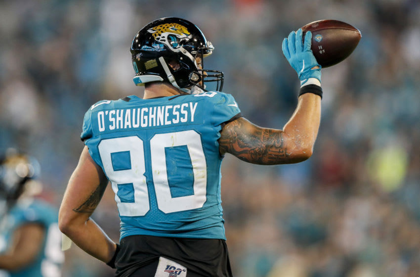 James O'Shaughnessy #80 of the Jacksonville Jaguars (Photo by James Gilbert/Getty Images)