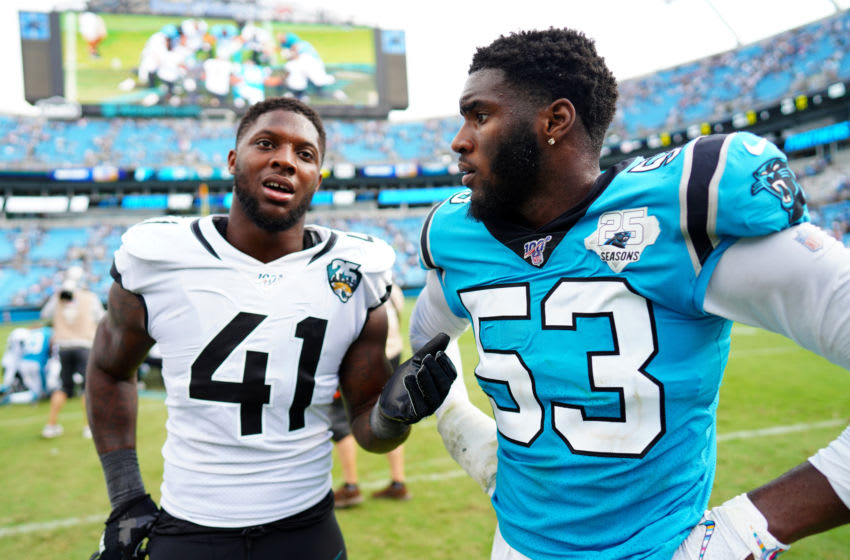 CHARLOTTE, NORTH CAROLINA - OCTOBER 06: Brian Burns #53 of the Carolina Panthers and Josh Allen #41 of the Jacksonville Jaguars talk together after their game at Bank of America Stadium on October 06, 2019 in Charlotte, North Carolina. (Photo by Jacob Kupferman/Getty Images)