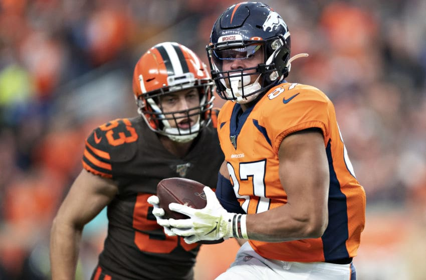 DENVER, CO - NOVEMBER 3: Noah Fans #87 of the Denver Broncos runs the ball after a catch and is pursued by Joe Schobert #53 of the Cleveland Browns during the second half of a game at Broncos Stadium at Mile High on November 3, 2019 in Denver, Colorado. The Broncos defeated the Browns 24-19. (Photo by Wesley Hitt/Getty Images)