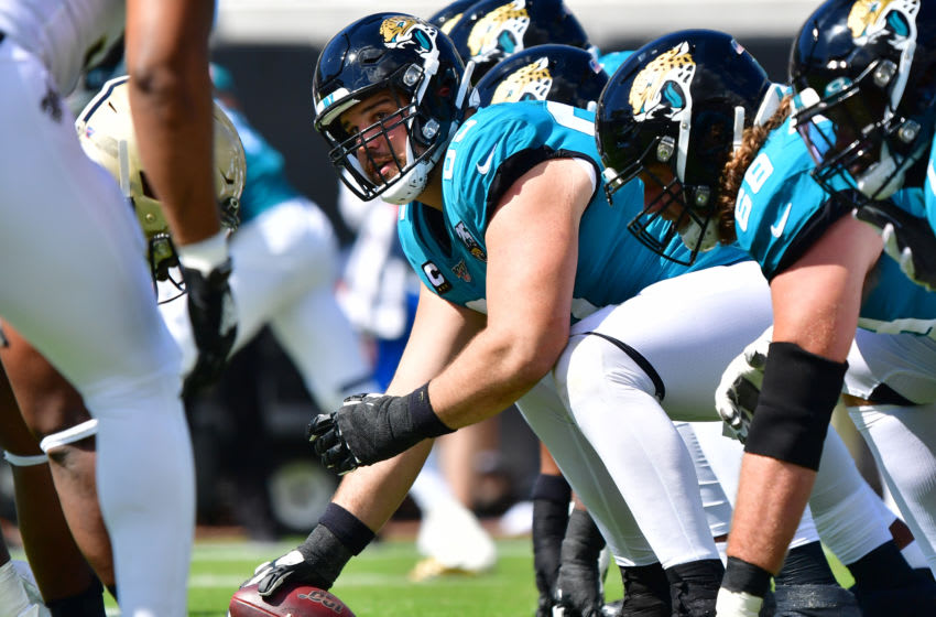 JACKSONVILLE, FLORIDA - OCTOBER 13: Center Brandon Linder #65 of the Jacksonville Jaguars lines up during the first quarter of the game against the New Orleans Saints at TIAA Bank Field on October 13, 2019 in Jacksonville, Florida. (Photo by Julio Aguilar/Getty Images)