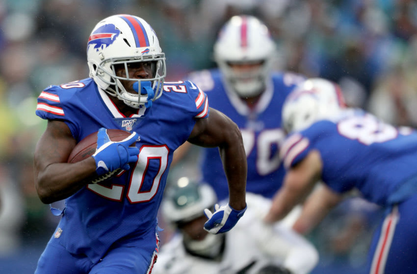 ORCHARD PARK, NEW YORK - OCTOBER 27: Frank Gore #20 of the Buffalo Bills runs the ball during the second quarter of an NFL game against the Philadelphia Eagles at New Era Field on October 27, 2019 in Orchard Park, New York. (Photo by Bryan M. Bennett/Getty Images)