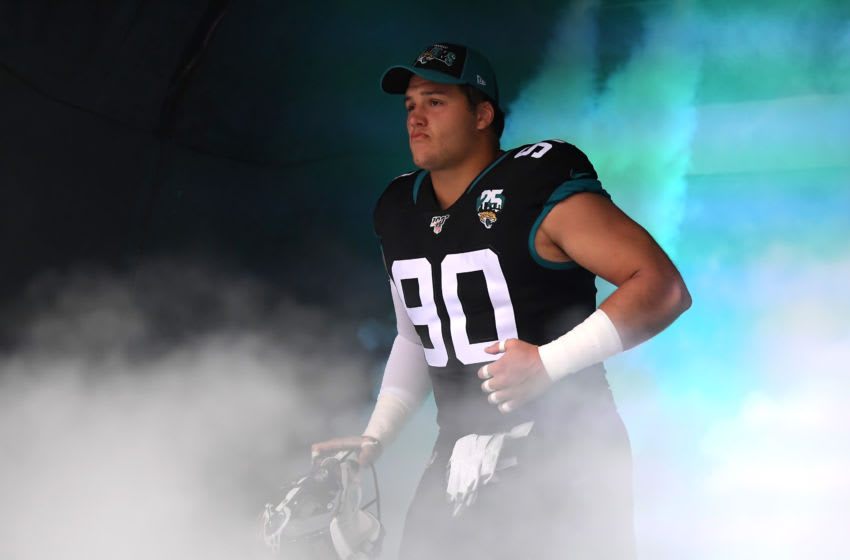 LONDON, ENGLAND - NOVEMBER 03: Taven Bryan of Jacksonville Jaguars takes to the field of play during the NFL game between Houston Texans and Jacksonville Jaguars at Wembley Stadium on November 03, 2019 in London, England. (Photo by Alex Davidson/Getty Images)