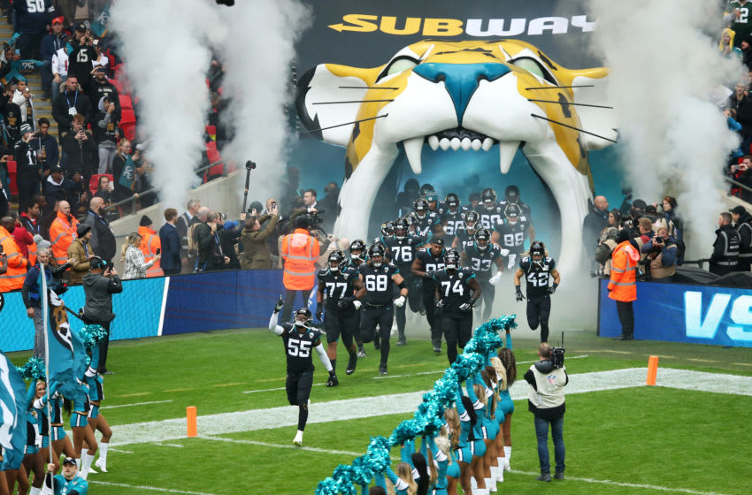 LONDON, ENGLAND - NOVEMBER 03: Lerentee McCray #55 of the Jacksonville Jaguars leads his team out onto the pitch prior to the NFL match between the Houston Texans and Jacksonville Jaguars at Wembley Stadium on November 03, 2019 in London, England. (Photo by Jack Thomas/Getty Images)