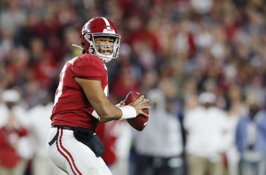 TUSCALOOSA, ALABAMA - NOVEMBER 09: Tua Tagovailoa #13 of the Alabama Crimson Tide looks to pass during the second half against the LSU Tigers in the game at Bryant-Denny Stadium on November 09, 2019 in Tuscaloosa, Alabama. (Photo by Kevin C. Cox/Getty Images)