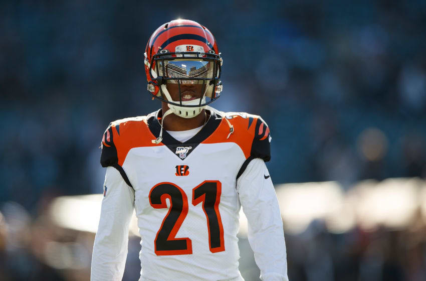 OAKLAND, CA - NOVEMBER 17: Defensive back Darqueze Dennard #21 of the Cincinnati Bengals warms up before the game against the Oakland Raiders at RingCentral Coliseum on November 17, 2019 in Oakland, California. The Oakland Raiders defeated the Cincinnati Bengals 17-10. (Photo by Jason O. Watson/Getty Images)