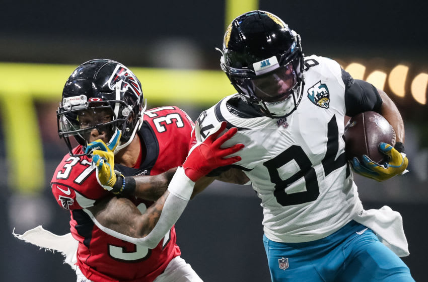 ATLANTA, GA - DECEMBER 22: Keelan Cole #84 of the Jacksonville Jaguars pushes off of defender Ricardo Allen #37 of the Atlanta Falcons during the first half of a game at Mercedes-Benz Stadium on December 22, 2019 in Atlanta, Georgia. (Photo by Carmen Mandato/Getty Images)