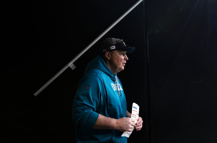 ATLANTA, GA - DECEMBER 22: Head coach Doug Marrone of the Jacksonville Jaguars takes the field prior to a game against the Atlanta Falcons at Mercedes-Benz Stadium on December 22, 2019 in Atlanta, Georgia. (Photo by Carmen Mandato/Getty Images)