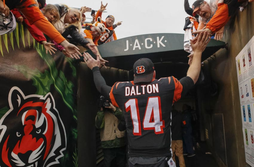 CINCINNATI, OH - DECEMBER 29: Andy Dalton #14 of the Cincinnati Bengals walks thru the tunnel to the locker room following the game against the Cleveland Browns at Paul Brown Stadium on December 29, 2019 in Cincinnati, Ohio. (Photo by Michael Hickey/Getty Images)