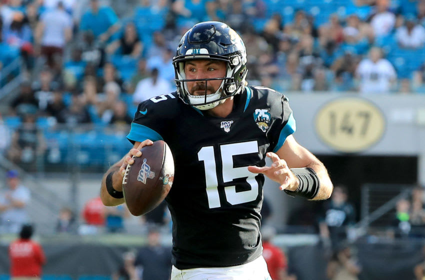 JACKSONVILLE, FLORIDA - DECEMBER 01: Gardner Minshew #15 of the Jacksonville Jaguars scrambles for yardage during the game against the Tampa Bay Buccaneers at TIAA Bank Field on December 01, 2019 in Jacksonville, Florida. (Photo by Sam Greenwood/Getty Images)