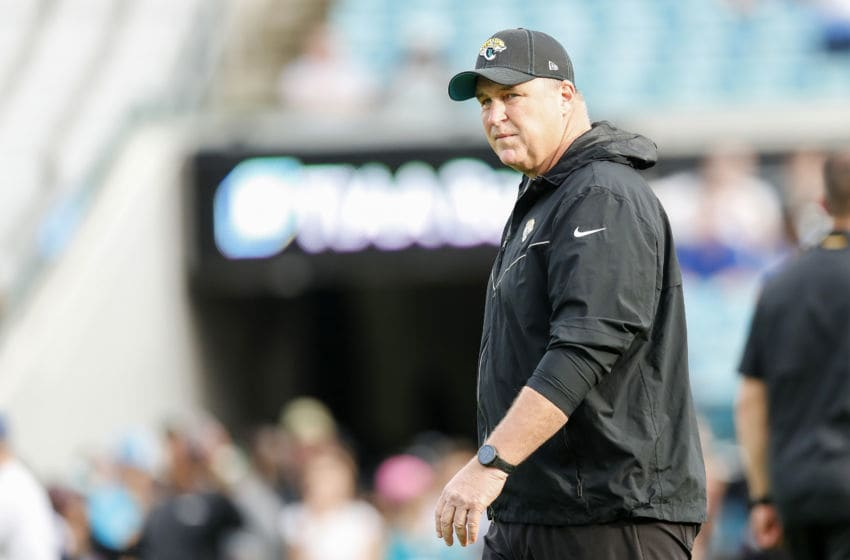 JACKSONVILLE, FLORIDA - DECEMBER 29: Head coach Doug Marrone of the Jacksonville Jaguars looks on before the start of a game between the Jacksonville Jaguars and Indianapolis Colts at TIAA Bank Field on December 29, 2019 in Jacksonville, Florida. (Photo by James Gilbert/Getty Images)