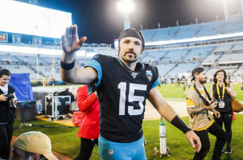 JACKSONVILLE, FLORIDA - DECEMBER 29: Gardner Minshew II #15 of the Jacksonville Jaguars looks on after defeating the Indianapolis Colts in a game at TIAA Bank Field on December 29, 2019 in Jacksonville, Florida. (Photo by James Gilbert/Getty Images)