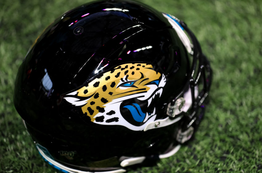 ATLANTA, GA - DECEMBER 22: A Jacksonville Jaguars helmet is seen during a game against the Atlanta Falcons at Mercedes-Benz Stadium on December 22, 2019 in Atlanta, Georgia. (Photo by Carmen Mandato/Getty Images)