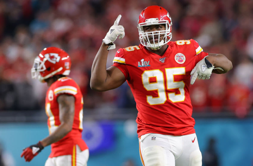 MIAMI, FLORIDA - FEBRUARY 02: Chris Jones #95 of the Kansas City Chiefs reacts during the game against the San Francisco 49ers in Super Bowl LIV at Hard Rock Stadium on February 02, 2020 in Miami, Florida. (Photo by Kevin C. Cox/Getty Images)