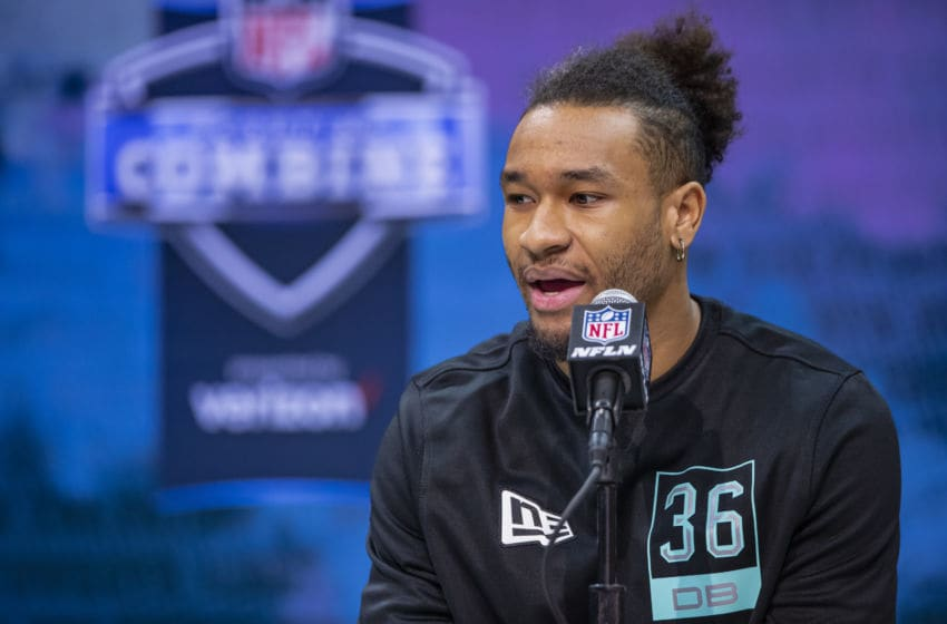 INDIANAPOLIS, IN - FEBRUARY 28: Julian Blackmon #DB36 of the Utah Utes speaks to the media on day four of the NFL Combine at Lucas Oil Stadium on February 28, 2020 in Indianapolis, Indiana. (Photo by Michael Hickey/Getty Images)