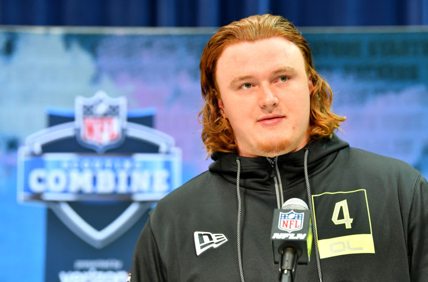 INDIANAPOLIS, INDIANA - FEBRUARY 26: Ben Bartch #OL04 of the St John's-MN interviews during the second day of the 2020 NFL Scouting Combine at Lucas Oil Stadium on February 26, 2020 in Indianapolis, Indiana. (Photo by Alika Jenner/Getty Images)