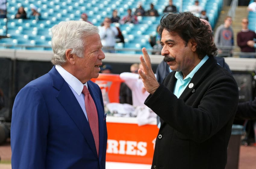 JACKSONVILLE, FL - DECEMBER 23: New England Patriots owner Bob Kraft talks with Jacksonville Jaguars owner Shahid Khan during a game at EverBank Field on December 23, 2012 in Jacksonville, Florida. (Photo by Mike Ehrmann/Getty Images)