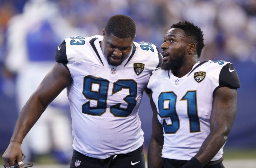 INDIANAPOLIS, IN - OCTOBER 22: Yannick Ngakoue #91 of the Jacksonville Jaguars talks to Calais Campbell #93 during a game against the Indianapolis Colts at Lucas Oil Stadium on October 22, 2017 in Indianapolis, Indiana. Jacksonville won 27-0. (Photo by Joe Robbins/Getty Images)