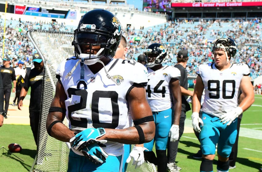 JACKSONVILLE, FL - SEPTEMBER 23: Jalen Ramsey #20 of the Jacksonville Jaguars leaves the field with his teammates at halftime of their game against the Tennessee Titans during their game at TIAA Bank Field on September 23, 2018 in Jacksonville, Florida. (Photo by Julio Aguilar/Getty Images)