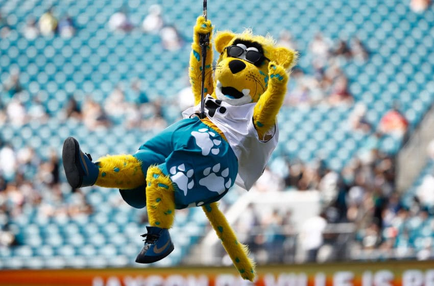 JACKSONVILLE, FL - SEPTEMBER 23: Jacksonville Jaguars mascot Jaxson de Ville enters the field at the start of their game against the Tennessee Titans during their game at TIAA Bank Field on September 23, 2018 in Jacksonville, Florida. (Photo by Wesley Hitt/Getty Images)