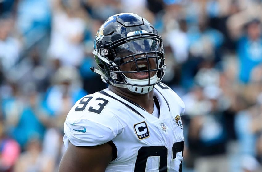 JACKSONVILLE, FL - SEPTEMBER 30: Calais Campbell #93 of the Jacksonville Jaguars celebrates a safety during the game against the New York Jets on September 30, 2018 in Jacksonville, Florida. (Photo by Sam Greenwood/Getty Images)