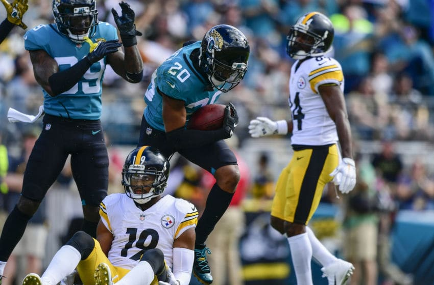 JACKSONVILLE, FL - NOVEMBER 18: Jalen Ramsey #20 of the Jacksonville Jaguars celebrates an interception during the first half against the Pittsburgh Steelers at TIAA Bank Field on November 18, 2018 in Jacksonville, Florida. (Photo by Julio Aguilar/Getty Images)