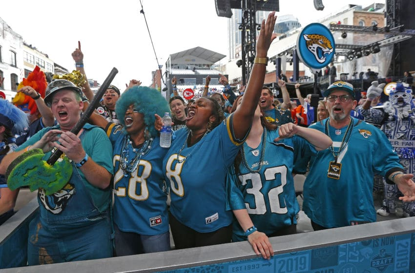 NASHVILLE, TENNESSEE - APRIL 25: Fans of the Jacksonville Jaguars attend Day 1 of the 2019 NFL Draft on April 25, 2019 in Nashville, Tennessee. (Photo by Frederick Breedon/Getty Images)