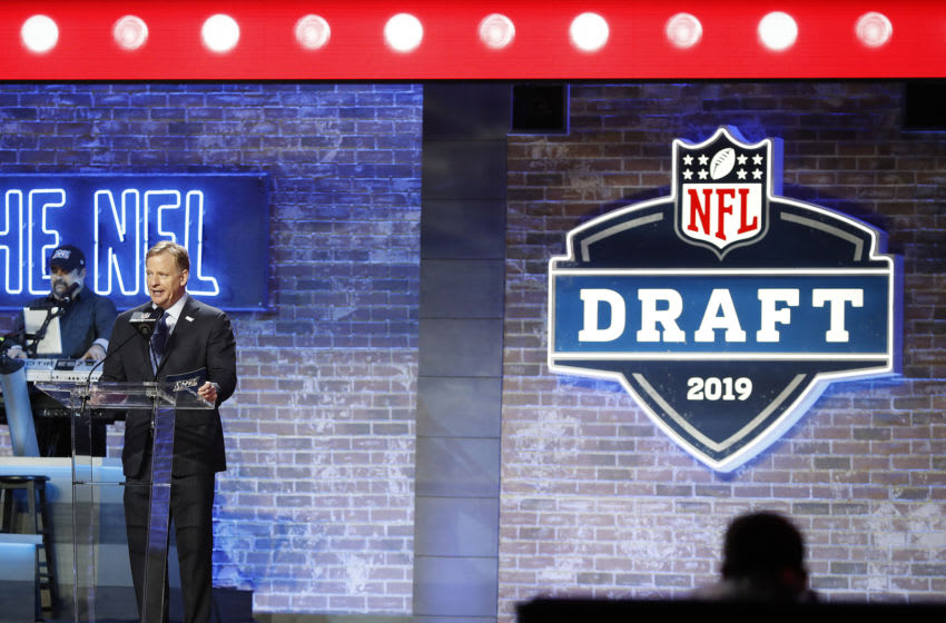 NASHVILLE, TENNESSEE - APRIL 25: NFL Commissioner Roger Goodell speaks at the podium on day 1 of the 2019 NFL Draft on April 25, 2019 in Nashville, Tennessee. (Photo by Frederick Breedon/Getty Images)