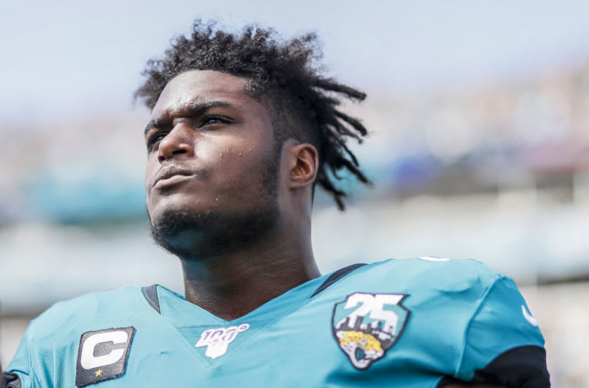 JACKSONVILLE, FLORIDA - OCTOBER 13: Myles Jack #44 of the Jacksonville Jaguars looks on before the start of a game against the New Orleans Saints at TIAA Bank Field on October 13, 2019 in Jacksonville, Florida. (Photo by James Gilbert/Getty Images)