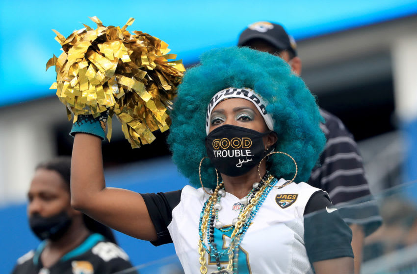 JACKSONVILLE, FLORIDA - SEPTEMBER 13: A Jacksonville Jaguars fan cheers during the game against the Indianapolis Colts at TIAA Bank Field on September 13, 2020 in Jacksonville, Florida. (Photo by Sam Greenwood/Getty Images)