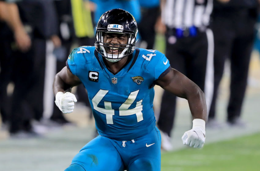 Myles Jack #44 of the Jacksonville Jaguars celebrates a defensive (Photo by Sam Greenwood/Getty Images)