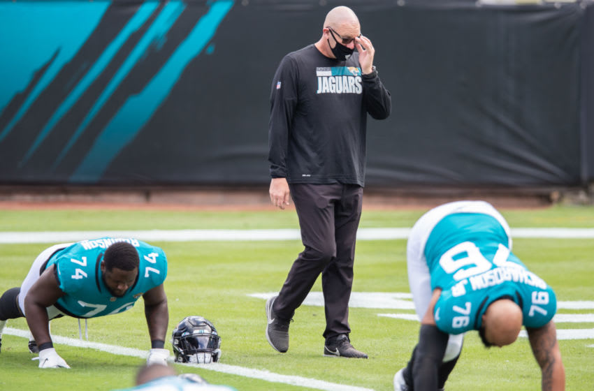 JACKSONVILLE, FLORIDA - OCTOBER 18: Defensive Coordinator Todd Wash of the Jacksonville Jaguars looks on before the start of a game against the Detroit Lions at TIAA Bank Field on October 18, 2020 in Jacksonville, Florida. (Photo by James Gilbert/Getty Images)