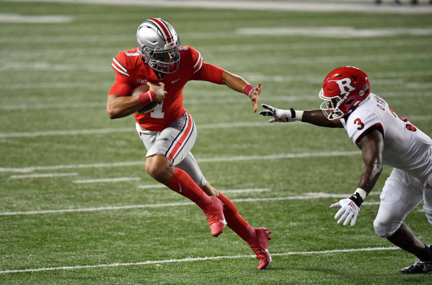 COLUMBUS, OH - NOVEMBER 7: Quarterback Justin Fields #1 of the Ohio State Buckeyes runs with the ball against the Rutgers Scarlet Knights at Ohio Stadium on November 7, 2020 in Columbus, Ohio. (Photo by Jamie Sabau/Getty Images)