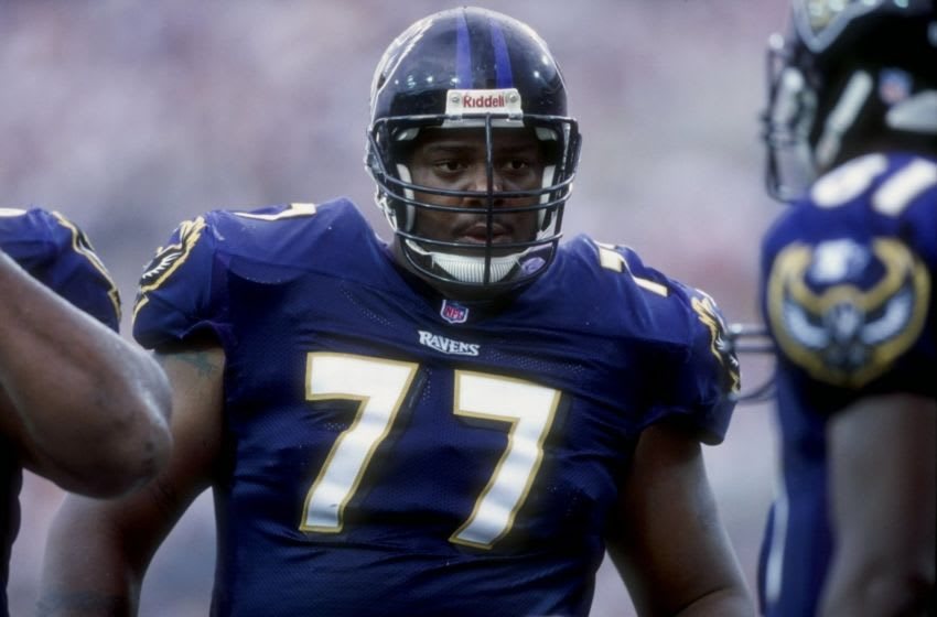 20 Sep 1998: Offensive lineman Orlando Brown #77 of the Baltimore Ravens looks on during the game against the Jacksonville Jaguars at the Alltel Stadium in Jacksonville, Florida. The Jaguars defeated the Ravens 24-10. Mandatory Credit: Andy Lyons /Allsp