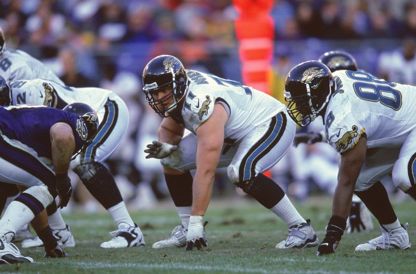 28 Nov 1999: Tony Boselli #71 of the Jacksonville Jaguars is ready on the field during the game against the Baltimore Ravens at the PSI Net Stadium in Baltimore, Maryland. The Jaguars defeated the Ravens 30-23.