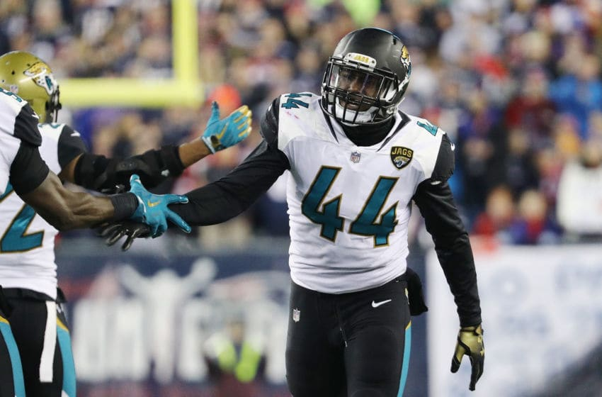 FOXBOROUGH, MA - JANUARY 21: Myles Jack #44 of the Jacksonville Jaguars celebrates with teammatesafter forcing a fumble in the second half during the AFC Championship Game against the New England Patriots at Gillette Stadium on January 21, 2018 in Foxborough, Massachusetts. (Photo by Maddie Meyer/Getty Images)