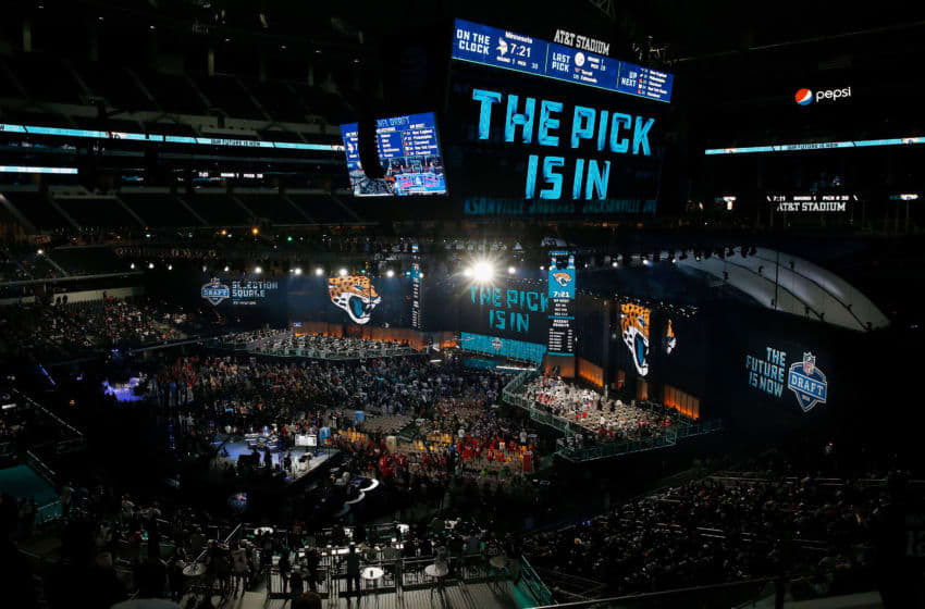 'THE PICK IS IN' for the Jacksonville Jaguars in the 2018 NFL Draft (Tim Warner/Getty Images)