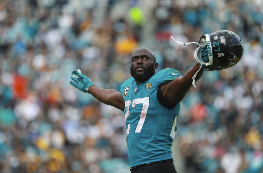 JACKSONVILLE, FL - NOVEMBER 18: Leonard Fournette #27 of the Jacksonville Jaguars celebrates a second half touchdown against the Pittsburgh Steelers at TIAA Bank Field on November 18, 2018 in Jacksonville, Florida. (Photo by Scott Halleran/Getty Images)