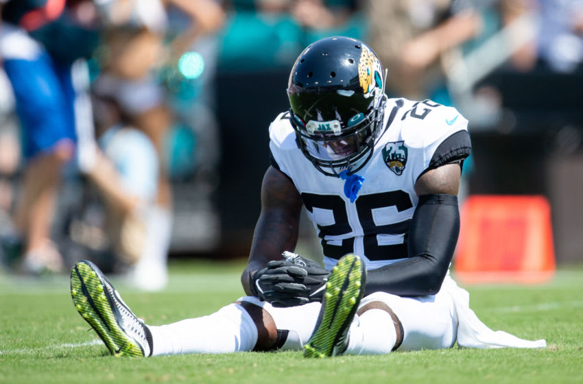 JACKSONVILLE, FLORIDA - SEPTEMBER 08: Jarrod Wilson #26 of the Jacksonville Jaguars reacts after a play during a game against the Kansas City Chiefs at TIAA Bank Field on September 08, 2019 in Jacksonville, Florida. (Photo by James Gilbert/Getty Images)