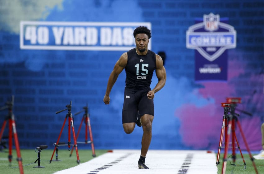 INDIANAPOLIS, IN - MARCH 01: Defensive back CJ Henderson of Florida runs the 40-yard dash during the NFL Combine at Lucas Oil Stadium on February 29, 2020 in Indianapolis, Indiana. (Photo by Joe Robbins/Getty Images)