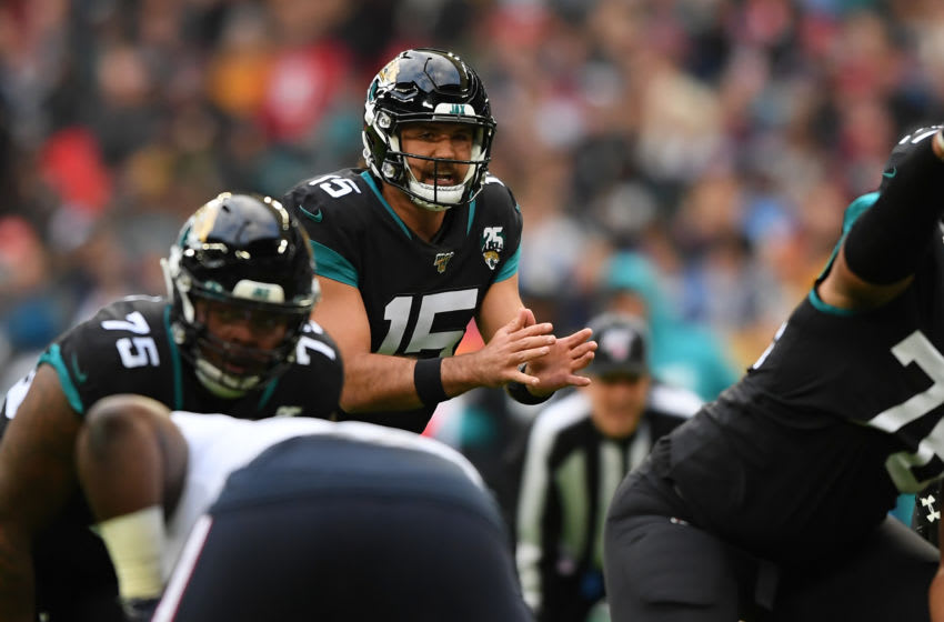 LONDON, ENGLAND - NOVEMBER 03: Gardner Minshew II of Jacksonville Jaguars looks on during the NFL game between Houston Texans and Jacksonville Jaguars at Wembley Stadium on November 03, 2019 in London, England. (Photo by Alex Davidson/Getty Images)