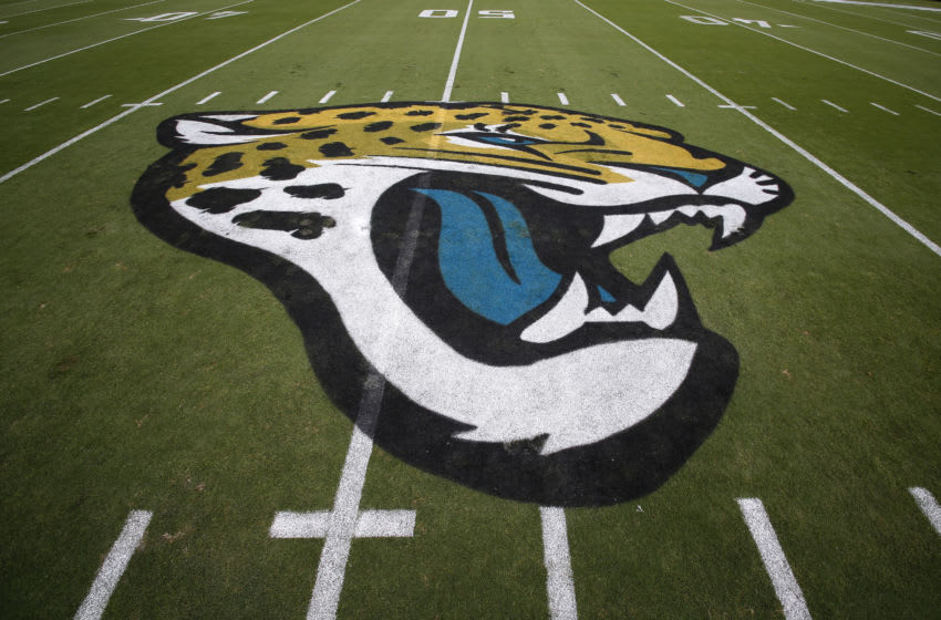 JACKSONVILLE, FL - OCTOBER 15: A general of the Jacksonville Jaguars Logo at mid-field before the Jacksonville Jaguars host the Los Angeles Rams at EverBank Field on October 15, 2017 in Jacksonville, Florida. (Photo by Don Juan Moore/Getty Images)
