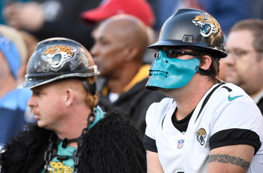 Jacksonville Jaguars fans watch the first quarter at Nissan Stadium Sunday, Nov. 24, 2019 in Nashville, Tenn. An58675