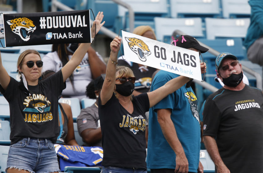 Sep 13, 2020; Jacksonville, Florida, USA; Jacksonville Jaguars fans cheer during the second half against the Indianapolis Colts at TIAA Bank Field. Mandatory Credit: Reinhold Matay-USA TODAY Sports