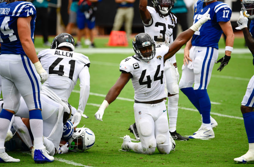 Sep 13, 2020; Jacksonville, Florida, USA; Jacksonville Jaguars linebacker Myles Jack (44) reacts during the first quarter against the Indianapolis Colts at TIAA Bank Field. Mandatory Credit: Douglas DeFelice-USA TODAY Sports
