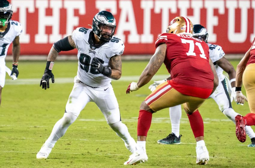 October 4, 2020; Santa Clara, California, USA; Philadelphia Eagles defensive end Derek Barnett (96) during the fourth quarter against the San Francisco 49ers at Levi's Stadium. Mandatory Credit: Kyle Terada-USA TODAY Sports